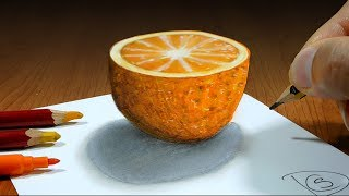3D Trick Art on Paper   Half Orange   Optical Illusion