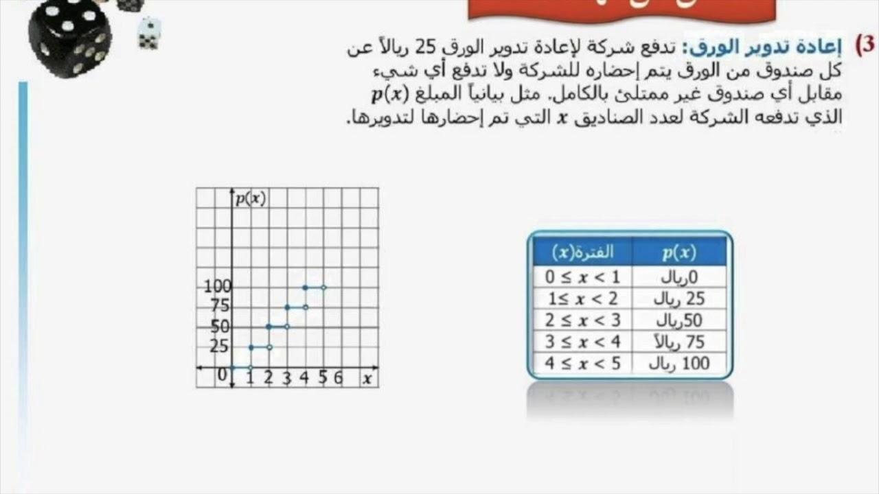 حل كتاب الطالب رياضيات المستوى الثالث