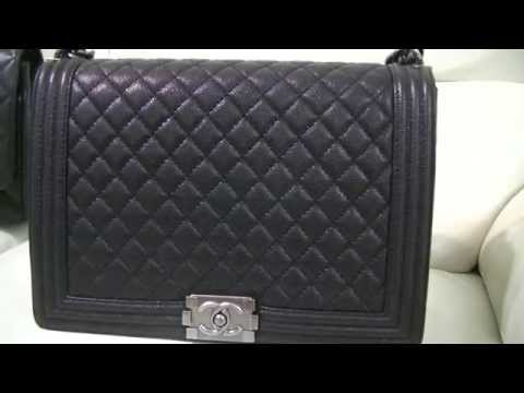 Review & What's in my Bag - Boy Chanel Flap Bag Large Calfskin Caviar Leather ~ popcornday