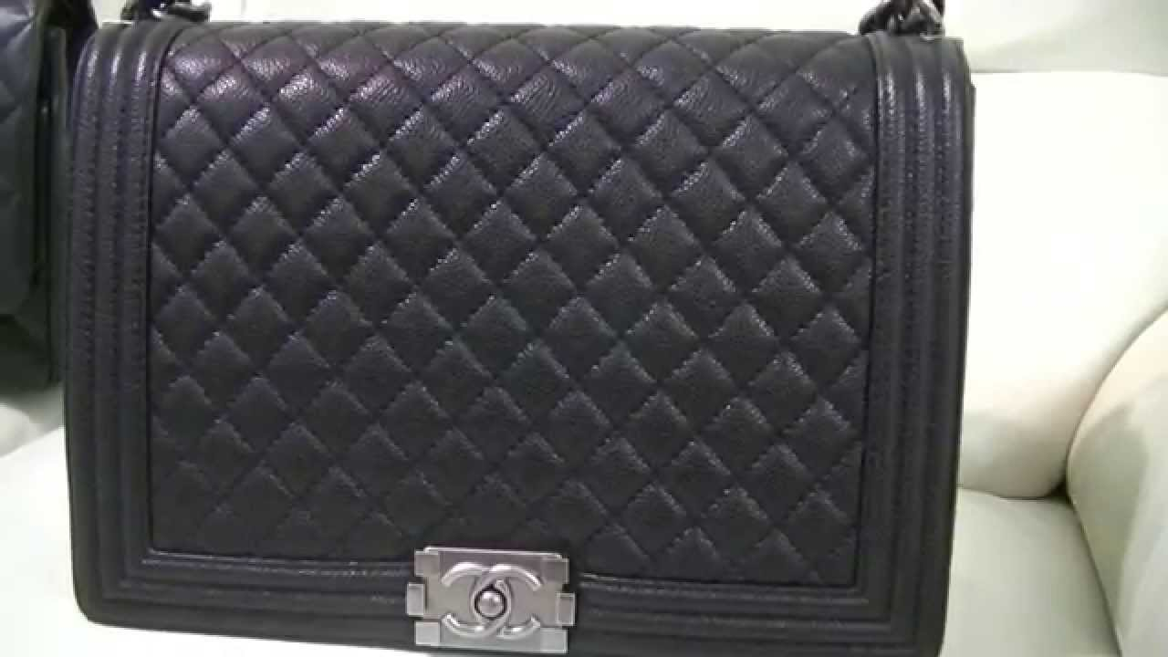 Review   What s in my Bag - Chanel Boy Bag Large Calfskin Caviar Leather ~  popcornday - YouTube 7acac4b12099d