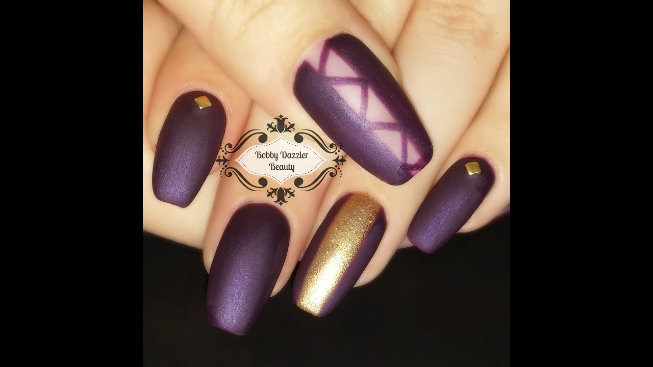 Nail art matte purple nails gel nail polish youtube prinsesfo Images