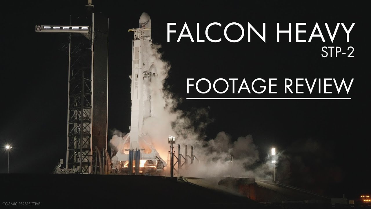 Falcon Heavy Night Launch - Remote Camera Footage Review from SpaceX STP-2 Mission