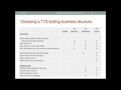 GreenTraderTax - Webinar -   How To Structure A Trading Business For Significant Tax Savings