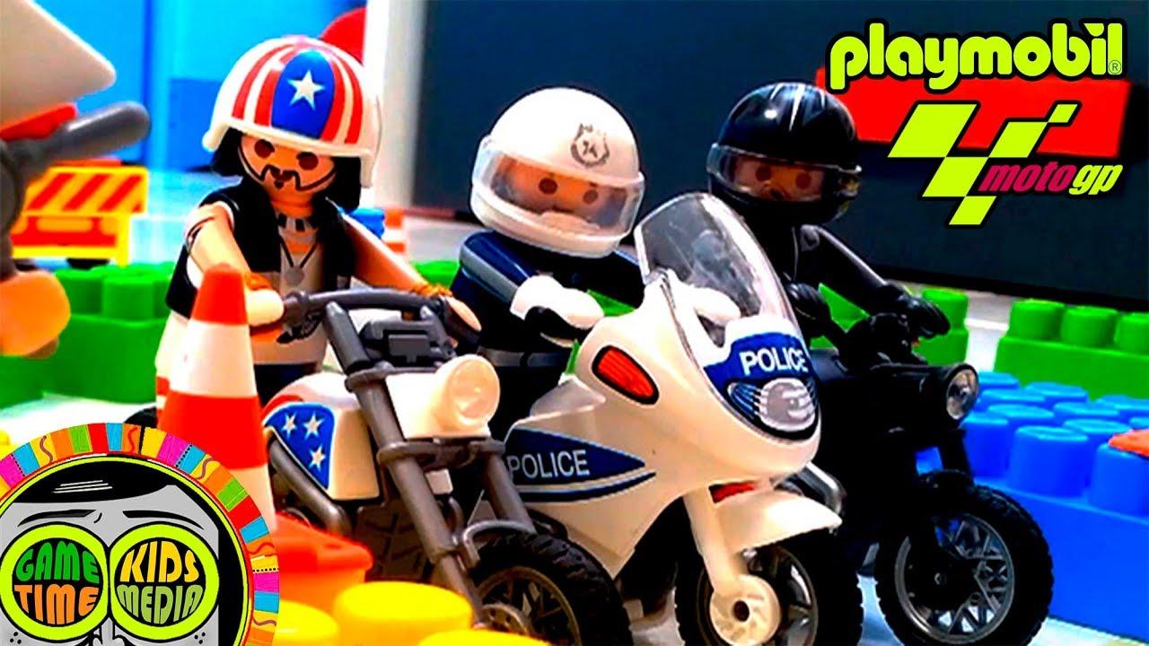 Playmobil motos de juguete para niños, espectacular carrera motogp en el circuito de velocidad ...