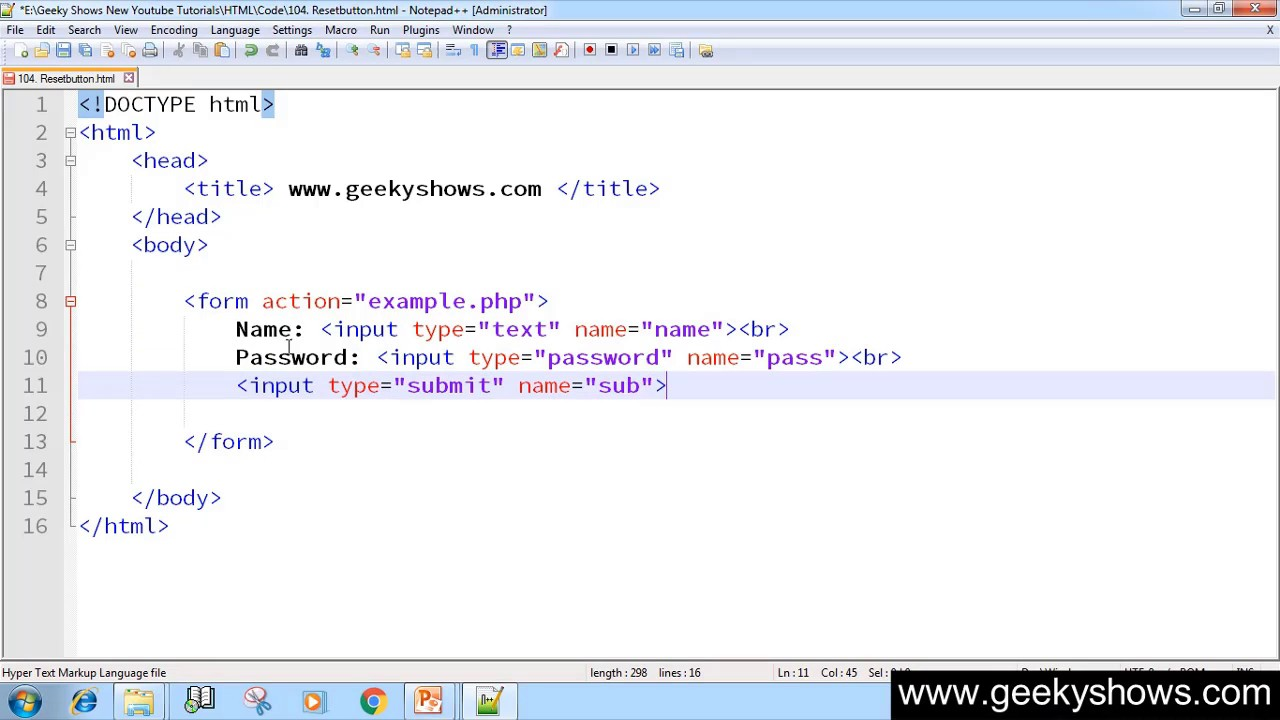 137. Reset Button in HTML (Hindi) - YouTube