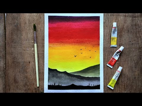 Sunset Landscape For Beginners Using Watercolors | Step by Step Watercolor Sunset | Paint with David