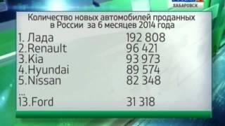 Вести-Хабаровск. Падение спроса на новые автомобили в России(Продажи новых авто в России за полгода упали на 7,6%, а именно было продано 1 229 839 новых автомобилей., 2014-07-10T05:50:14.000Z)