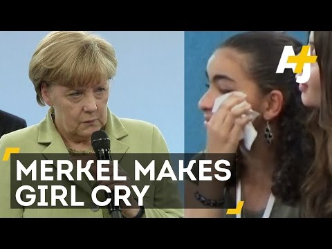 German Chancellor Angela Merkel Makes Refugee Girl Cry