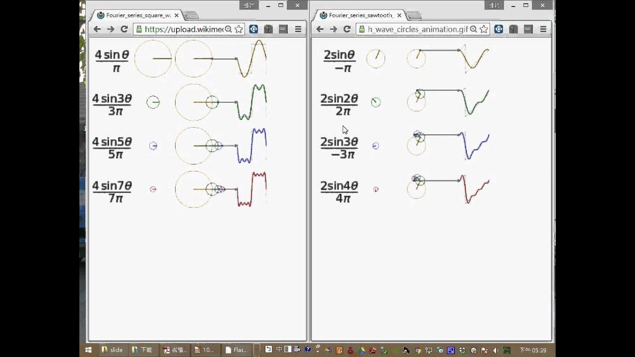 用 sin 波逼近方波和三角波 -- 傅立葉轉換的範例 - YouTube