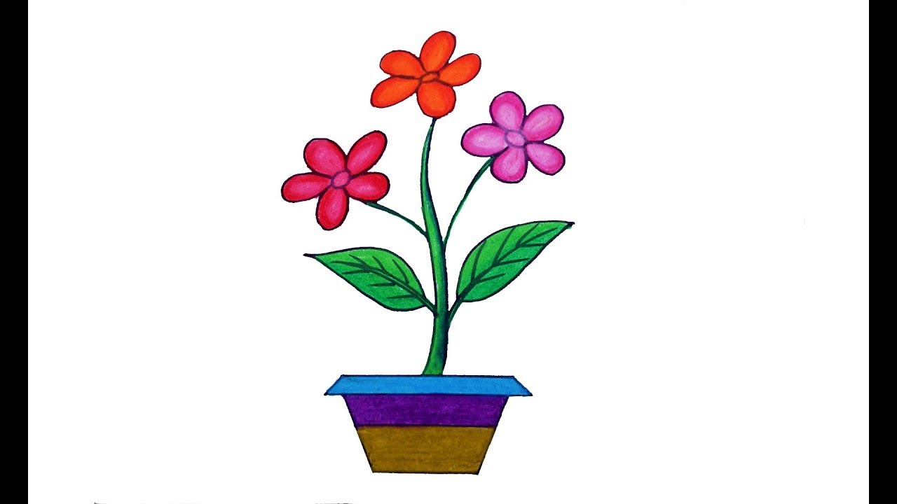 How to draw Flower tree with tub, flower tree and pot drawing - YouTube