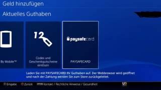 PS4 Tutorial: PSN Guthaben mit Paysafecard Paysafekarte aufladen erhöhen bezahlen Deutsch