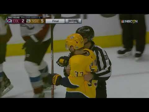 Players FIGHT at the end of Game 1 (Predators vs. Avalanche NHL Playoffs 2018)