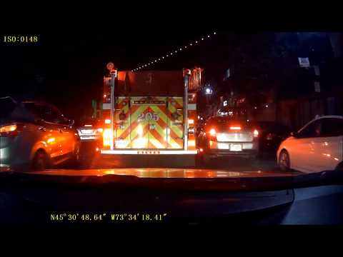 MONTREAL PUMPER 205 RESPONDS AS FIRST RESPONDERS ON SAINT-LAURENT BLVD AT NIGHT / SIM