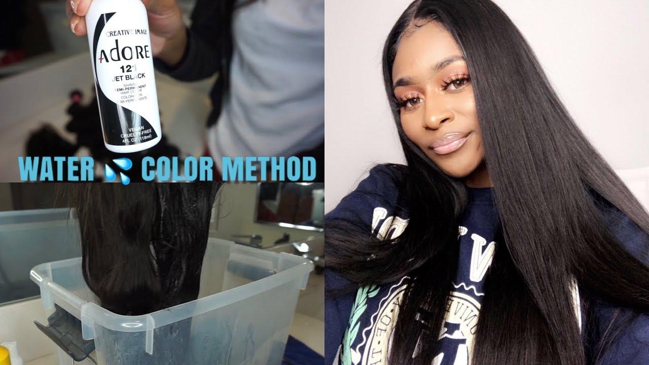 How To Dye Hair Jet Black Using The Water Color Hair Dye Method Ft Julia Hair Youtube