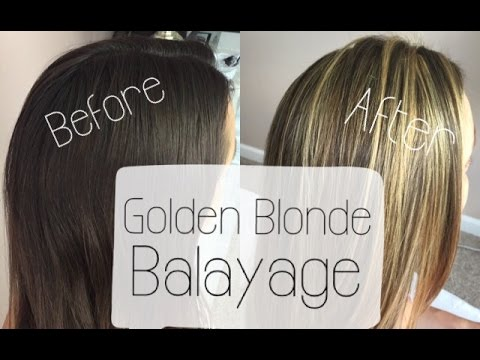 Golden Blonde Balayage BeforeampAfter From Brown To