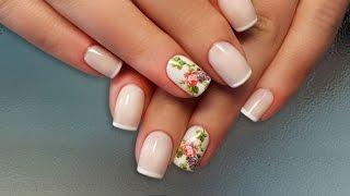Дизайн ногтей гель-лак shellac - Слайдер дизайн + френч (видео уроки дизайна ногтей)
