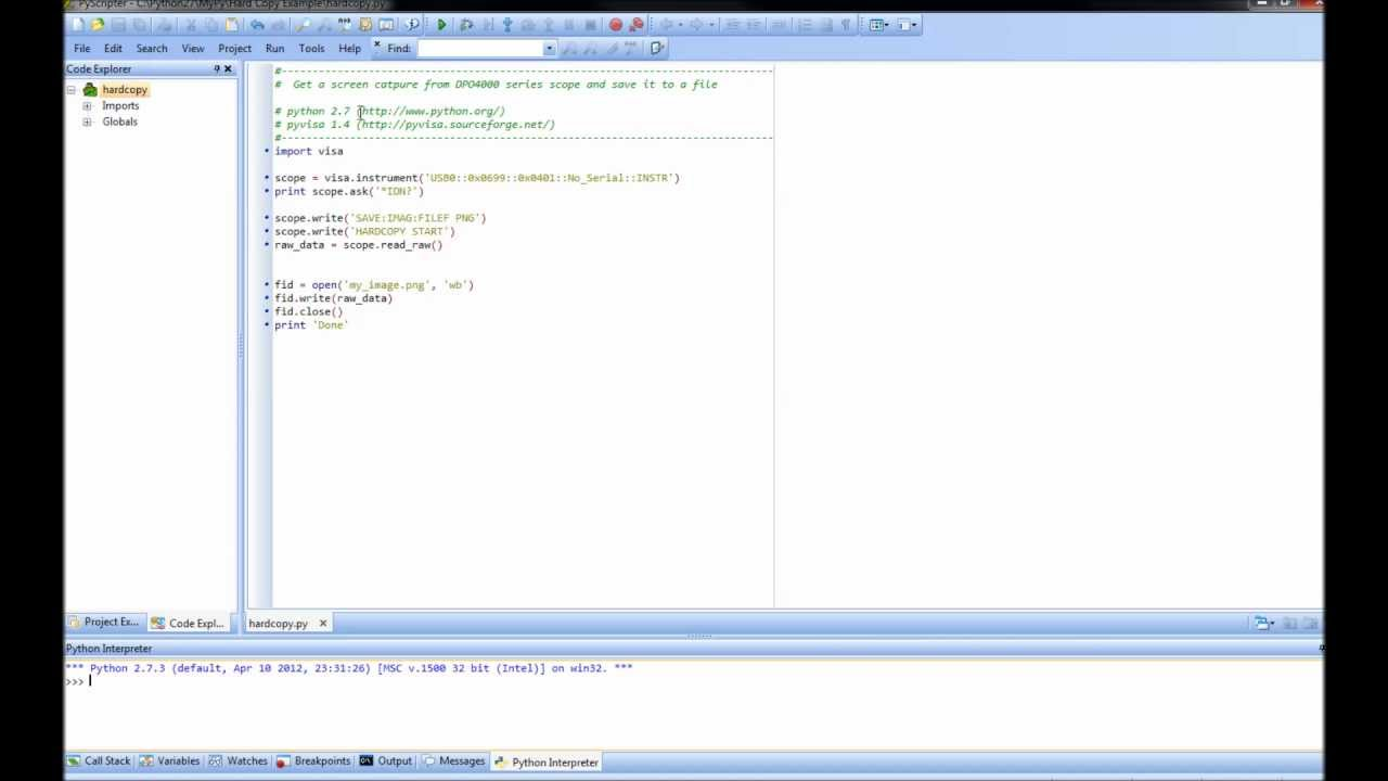 Programing - How to get a Screen Capture from DPO4000 scope using Python