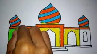 cara menggambar masjid part 2