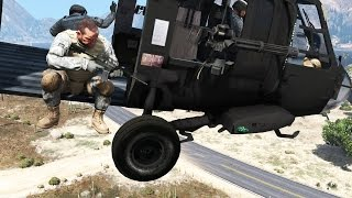 GTA 5 - Military ARMY Patrol #12 - Black Hawk Down (Defending Crash Site, Close Air Support)