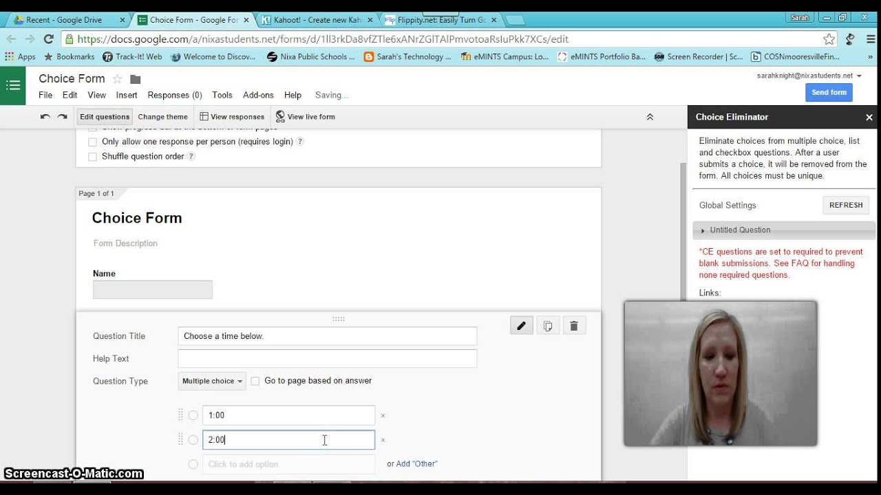 Choice Eliminator Google Form Add-on - YouTube