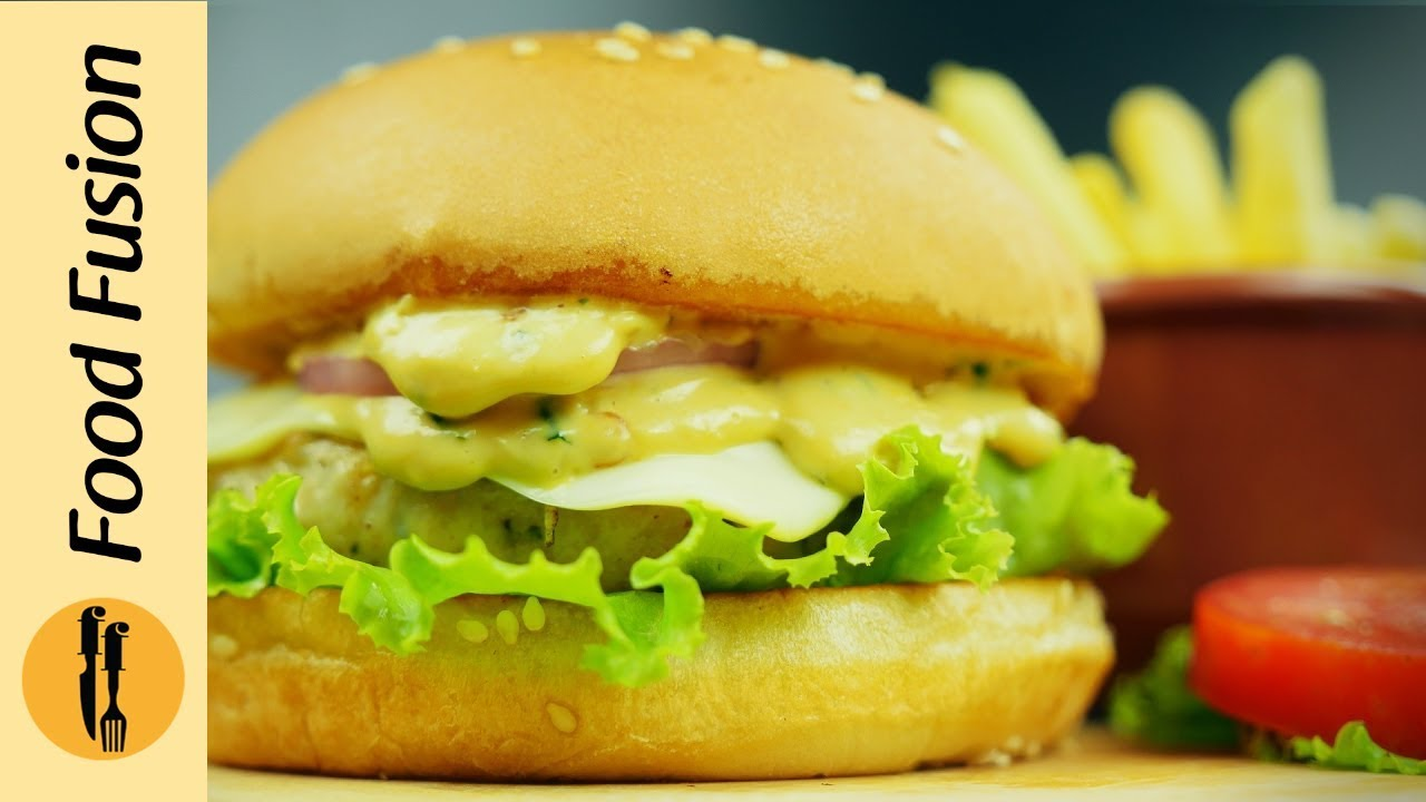 Double Melt Chicken Cheese Burger Recipe By Food Fusion Youtube