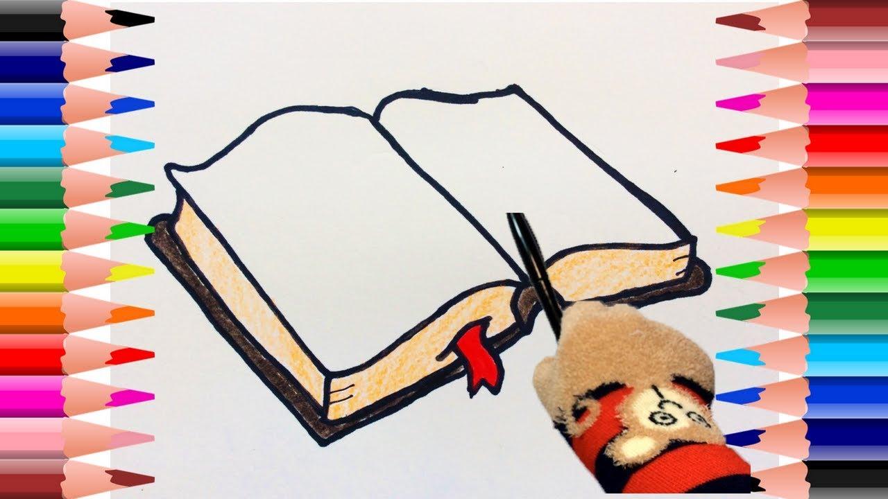 Libro Abierto Animado Para Colorear