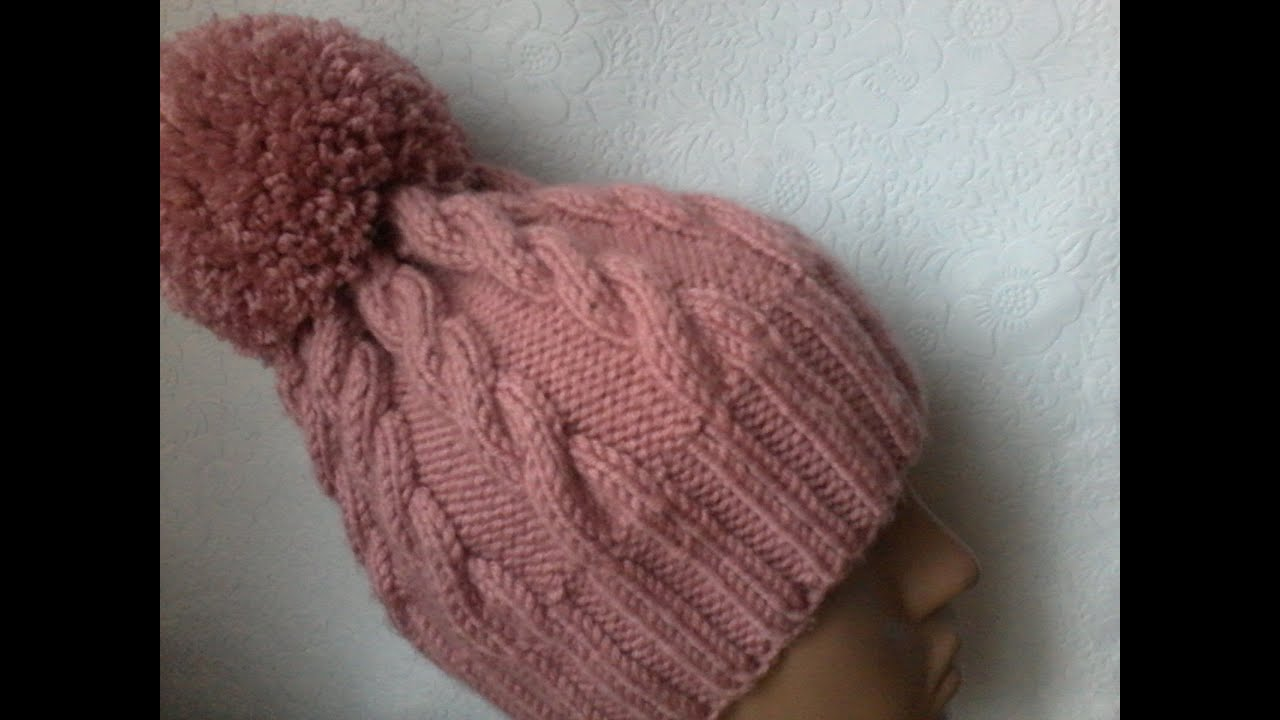 схема вязки шапку с бубоном спицами