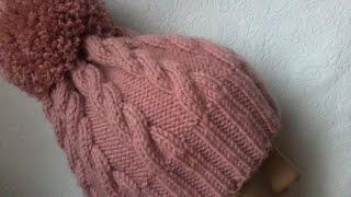 Вязание шапки с косами спицами.(Мастер-класс по вязанию шапки с косами на 5 (пяти) спицах без шва.Master-class knitting hats with braids 5 (five) Spokes seamless., 2014-12-18T05:02:15.000Z)