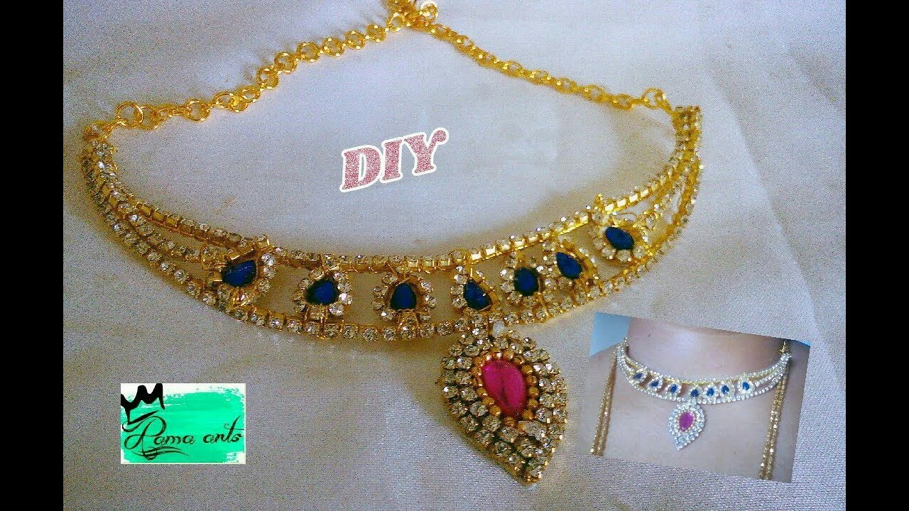 Unique design necklace - Making with stone chain | jewellery ...