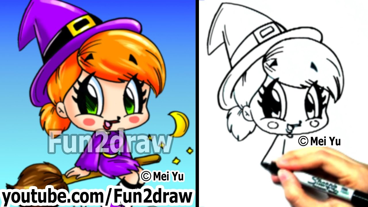 how to draw chibi - how to draw a witch - draw people - cute