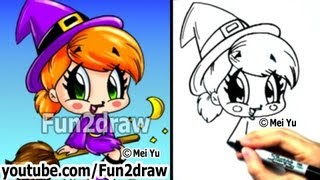 How to Draw Chibi - How to Draw a Witch - Draw People - Cute Drawings - Fun2draw