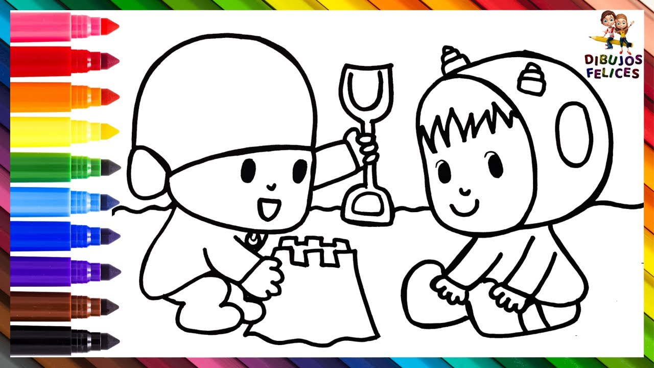 Dibuja y Colorea A Pocoyó Y Nina Construyendo Un Castillo De Arena 👶👧🏰🏖️ Dibujos Para Niños