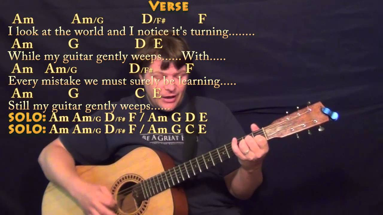While My Guitar Gently Weeps Beatles Strum Guitar Cover Lesson