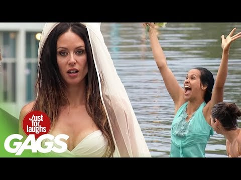 Bridesmaids Epic Catching Bouquet Fail! - Just For Laughs Gags