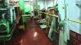 Container ship engine room