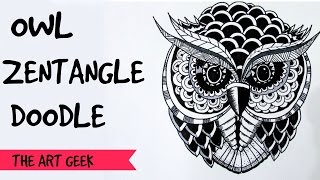 Owl Zentangle Doodle (time-lapse)