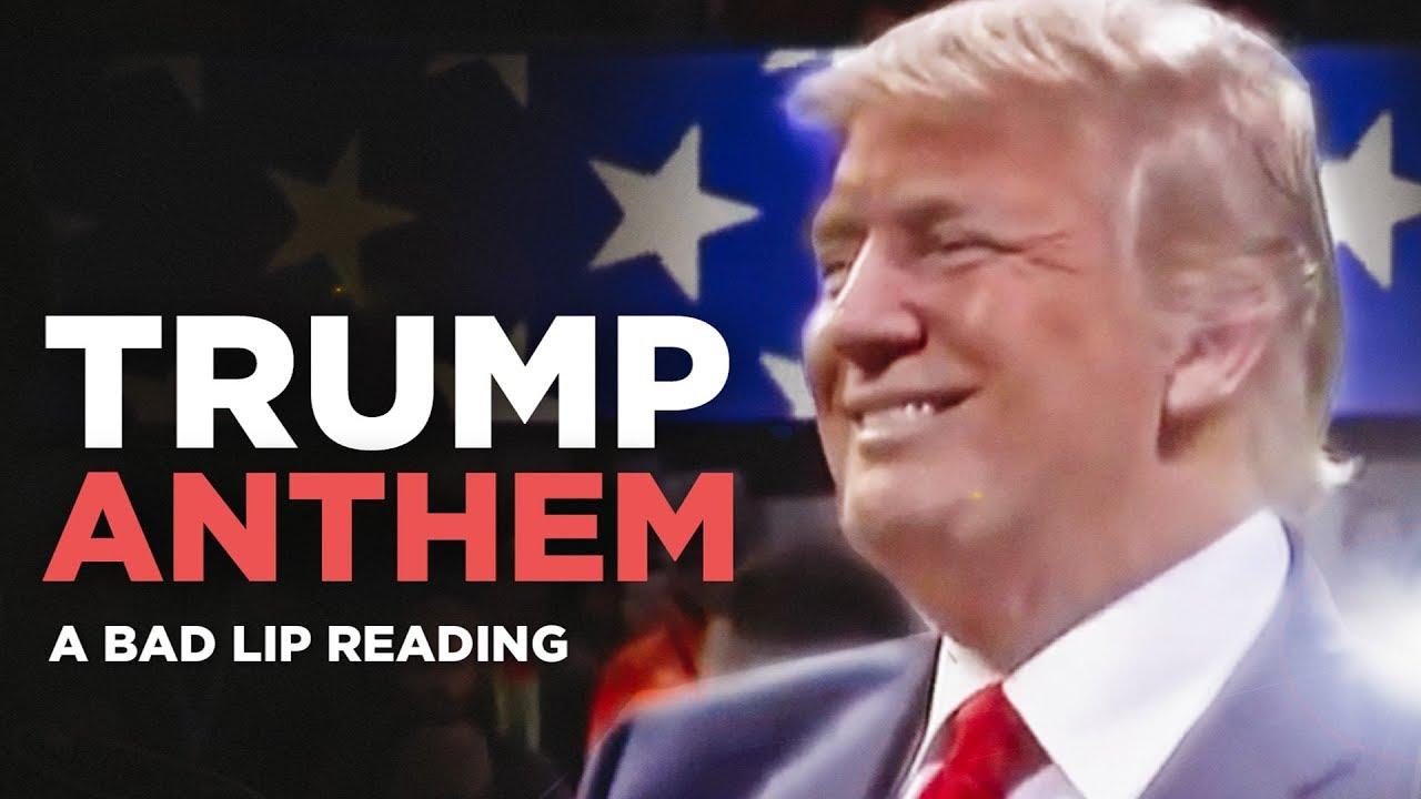 """Саркастично """"читање од усни"""" додека Трамп ја пее химната"""