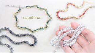 【ハンドメイド】竹ビーズ・シードビーズで編むネックレスの作り方 ビーズステッチ How to make a twisted bead necklace
