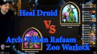 Arch-Villain Rafaam Zoo Warlock vs Heal Druid | Hearthstone