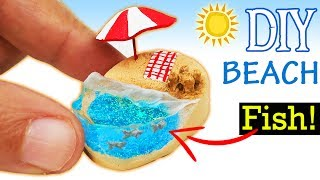 HOW TO MAKE MINIATURE BEACH SUMMER diy craft polymer clay epoxy resin tutorial sandcastle