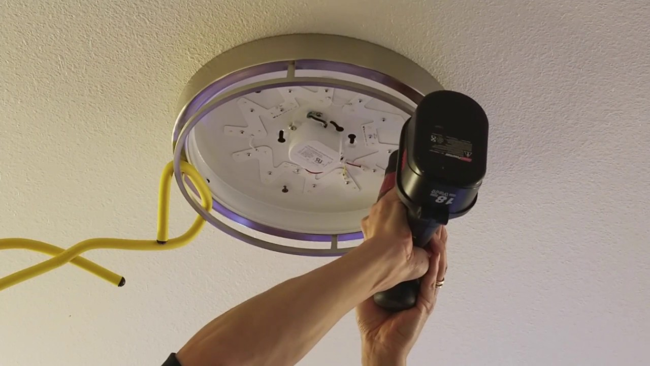 how to install modify led flushmount ceiling light fixture 1 22 2018 youtube. Black Bedroom Furniture Sets. Home Design Ideas