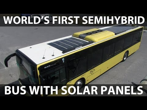 World's first semihybrid bus with solar panels