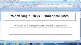 Automatic Horizontal Line in Word - Word Magic Tricks
