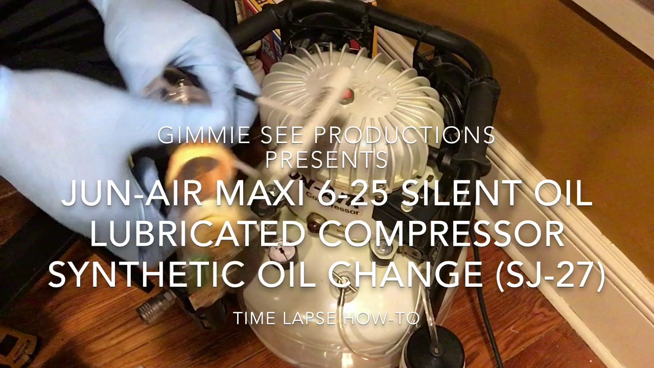 jun air 6 25 silent compressor sj 27 synthetic oil change [ 1280 x 720 Pixel ]