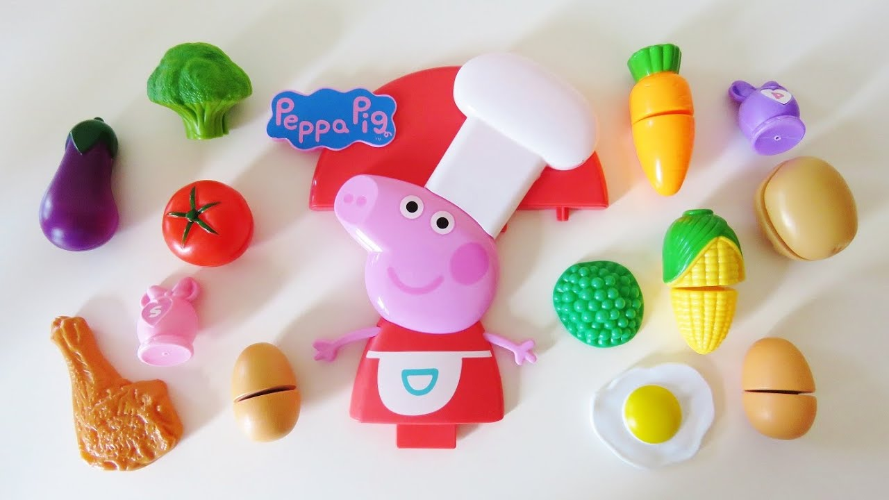 Peppa Pig Toy Kitchen Cooking Velcro Cutting Food Learn