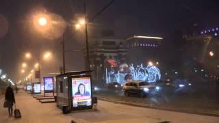 . Москва-Зимняя. Триумфальные ворота на Кутузовском проспекте в ночь