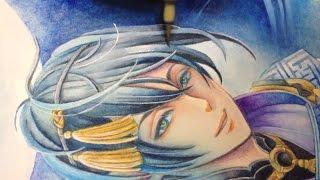 Watercolor painting  Touken Ranbu [刀剣乱舞/三日月宗近/水彩イラストメイキング]