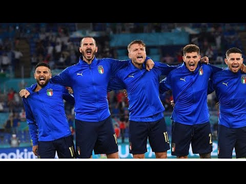 Italian players belted out their national anthem at Euro 2020