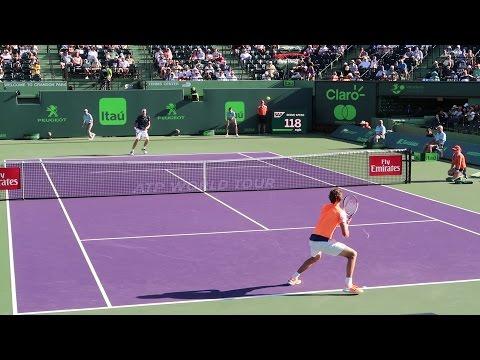 Alexander Zverev v. John Isner (Court Level View) 60FPS HD Miami Open 2017 R3