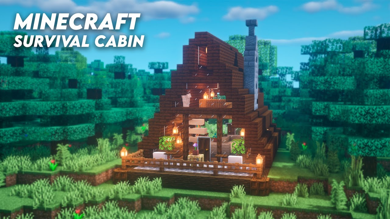 Minecraft How To Build A Survival Cabin A Frame House Tutorial World Download Youtube